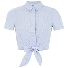 Buy Miss Selfridge Petite Tie Front Striped Shirt, White Online at johnlewis.com