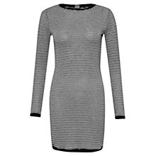 Buy French Connection Starzy Stripe Long Sleeve Dress, Black/Silver Online at johnlewis.com