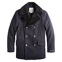 Buy Private White V.C. Shearling Collar Pea Coat, Navy Online at johnlewis.com