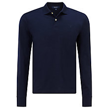 Buy Gant Fine Jersey Long Sleeve Polo Top, Marine Online at johnlewis.com