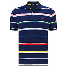 Buy Gant Multi Stripe Pique Polo Top, Persian Blue Online at johnlewis.com