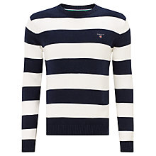 Buy Gant Bar Stripe Cotton Crew Neck Jumper, Dark Denim Blue Online at johnlewis.com