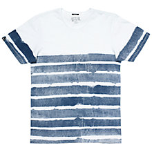 Buy Denham Paper Stripe Crew Neck T-shirt, White Online at johnlewis.com