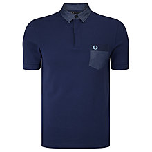 Buy Fred Perry Woven Collar Polo Top, Carbon Blue Online at johnlewis.com