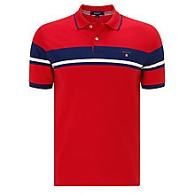 Buy Gant Chest Stripe Pique Polo Top, Red Online at johnlewis.com