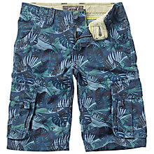 Buy Fat Face Boys' Leaf Print Cargo Shorts, Blue/Green Online at johnlewis.com