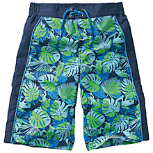 Buy Fat Face Boys' Leaf Print Board Shorts, Cobalt Blue Online at johnlewis.com