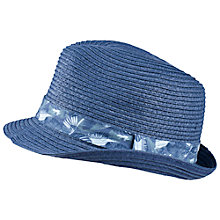 Buy Fat Face Children's Leaf Print Trilby, Navy Online at johnlewis.com