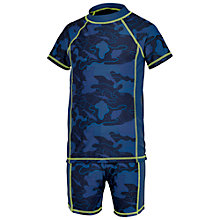 Buy Fat Face Boys' Map Camo Rashie Swimwear Set, Indigo Online at johnlewis.com