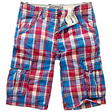 Buy Fat Face Boys' Ridley Check Cargo Shorts, Blue/Red Online at johnlewis.com