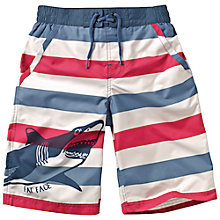 Buy Fat Face Boys' Stripe Shark Board Shorts, Red/Blue Online at johnlewis.com