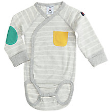 Buy Polarn O. Pyret Stripe Patch Pocket Bodysuit, Grey Online at johnlewis.com