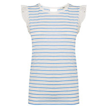 Buy Oasis Broderie Stripe T-shirt, Off White Online at johnlewis.com