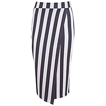 Buy Miss Selfridge Stripe Wrap Skirt, Dark Grey/White Online at johnlewis.com