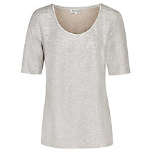 Buy Reiss Mercy Metallic Jersey T-Shirt, Gold Online at johnlewis.com