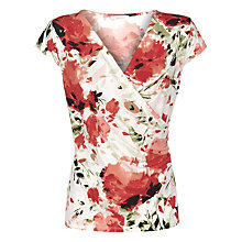 Buy Kaliko Floral Wrap Top, Red Online at johnlewis.com