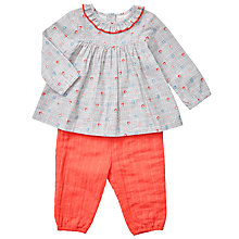 Buy John Lewis Baby Woven Blouse and Trouser Set, Pink/Blue Online at johnlewis.com