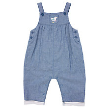 Buy John Lewis Baby Bird Chambray Dungarees, Blue Online at johnlewis.com