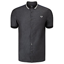 Buy Fred Perry Chambray Mixed Shirt, Black Online at johnlewis.com