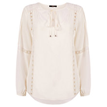 Buy Oasis Peasant Blouse, Off White Online at johnlewis.com