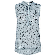 Buy Oasis Graphite Print Tie Neck Top, Multi Online at johnlewis.com