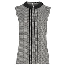 Buy Oasis Leaf Collar Shell Top, Black Online at johnlewis.com
