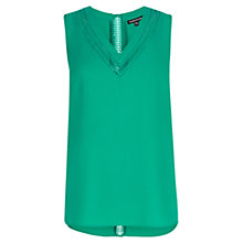 Buy Warehouse Lace Trim V-Neck Top, Bright Green Online at johnlewis.com