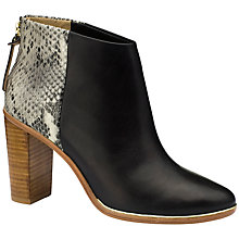 Buy Ted Baker Lorcae Leather Snakeskin Print Block Heel Ankle Boots, Black/White Online at johnlewis.com