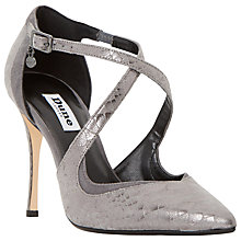 Buy Dune Darcey Reptile Effect Leather Crossover Strap Court Shoes, Pewter Online at johnlewis.com