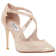 Buy Dune Darcey Reptile Effect Leather Crossover Strap Court Shoes Online at johnlewis.com