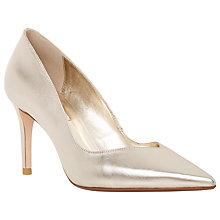 Buy Dune Alessia Pointed Court Shoes, Gold Leather Online at johnlewis.com