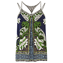 Buy Warehouse Border Floral Camisole Top, Navy Online at johnlewis.com