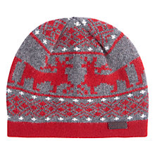 Buy Barbour Keaton Stag Beanie Hat, Red/Grey Online at johnlewis.com