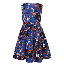 Buy John Lewis Girls' Woven Floral Print Dress, Blue Online at johnlewis.com