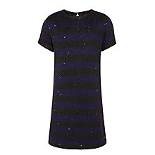 Buy John Lewis Girls' Sequin Stripe Knit Dress, Black/Blue Online at johnlewis.com