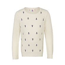 Buy John Lewis Girls' Anchor Embroidered Jumper, Cream Online at johnlewis.com