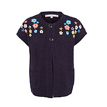 Buy John Lewis Girls' Short Sleeve Cardigan, Navy Online at johnlewis.com
