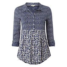 Buy White Stuff Bella Jersey Print Shirt, Uniform Blue Online at johnlewis.com