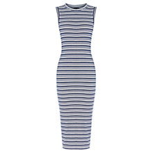 Buy Warehouse Striped Ribbed Midi Dress, Navy Online at johnlewis.com