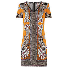 Buy Warehouse Border Floral Print Dress, Orange Online at johnlewis.com