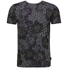 Buy Ted Baker Othelo Leaf Print T-Shirt, Charcoal Online at johnlewis.com