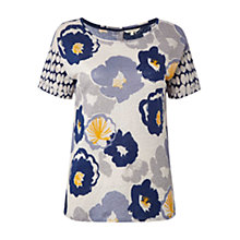 Buy White Stuff Linen Flower Dot T-Shirt, Uniform Blue Online at johnlewis.com