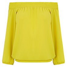 Buy Oasis Bardot Long Sleeve Top, Bright Yellow Online at johnlewis.com