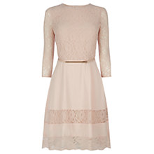 Buy Oasis Lace Stripe Skater Dress, Light Neutral Online at johnlewis.com