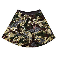 Buy Jigsaw Junior Girls' Camo Sequinned Skirt, Khaki Online at johnlewis.com