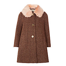 Buy John Lewis Girls' Faux Fur Collar Coat, Brown Online at johnlewis.com