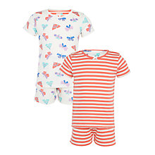 Buy John Lewis Girls' Butterfly Stripe Shortie Pyjama Set, Pack of 2, Pink/White Online at johnlewis.com