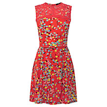 Buy Oasis Oriental Ditzy Skater Dress, Coral Online at johnlewis.com