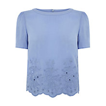 Buy Oasis Embroidered Scallop T-shirt, Light Blue Online at johnlewis.com