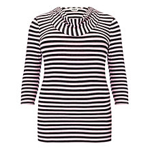 Buy Studio 8 Suki Stripe Cowl Neck Top, Charcoal/Pink Online at johnlewis.com